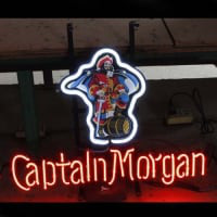 Captain Morgan Øl Bar Åben Neon Skilt