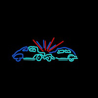 Car Crash Sign Neon Skilt