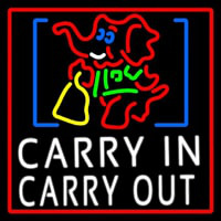 Carry In Carry Out With Elephant Neon Skilt