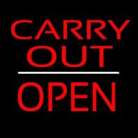 Carry Out Block Open White Line Neon Skilt