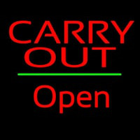 Carry Out Open Green Line Neon Skilt