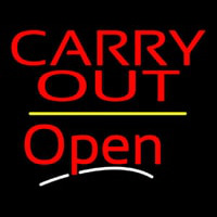 Carry Out Open Yellow Line Neon Skilt