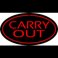 Carry Out Oval Red Neon Skilt