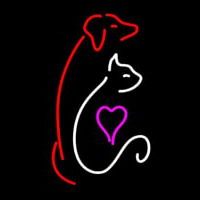 Cat Dog Logo Pet Clinic Neon Skilt