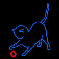 Cat Play With Ball Neon Skilt