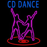 Cd With Dancing Couple Neon Skilt