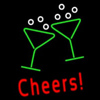 Cheers With Wine Glass Neon Skilt