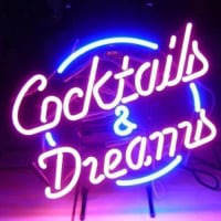 Cocktails And  Dreams Øl Bar Åben Neon Skilt