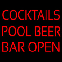 Cocktails Pool Beer Bar Open Neon Skilt