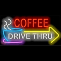 Coffee Drive Thru with Right Arrow Neon Skilt