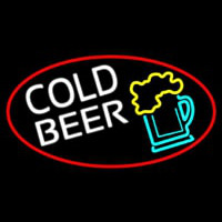 Cold Beer And Beer Mug Oval With Red Border Neon Skilt