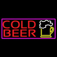 Cold Beer And Beer Mug With Pink Border Neon Skilt