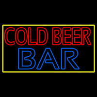 Cold Beer Bar With Yellow Border Neon Skilt