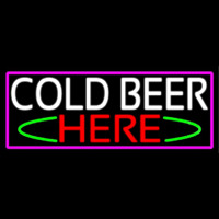 Cold Beer Here With Pink Border Neon Skilt