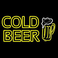 Cold Beer With Beer Mug Neon Skilt