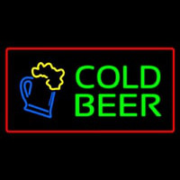 Cold Beer with Red Border Neon Skilt