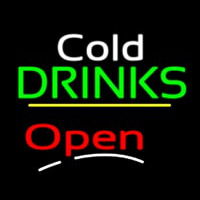 Cold Drinks Open Yellow Line Neon Skilt