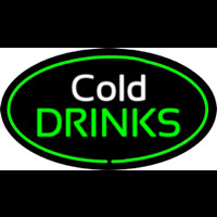 Cold Drinks Oval Green Neon Skilt