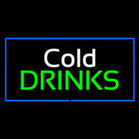 Cold Drinks Rectangle Blue Neon Skilt