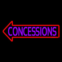 Concessions With Red Arrow Neon Skilt