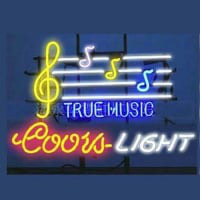 Coors True Music Øl Bar Åben Neon Skilt
