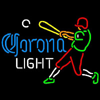 Corona Light Baseball Player Beer Sign Neon Skilt