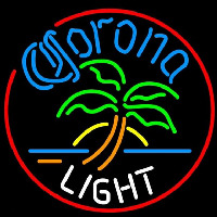 Corona Light Circle Palm Tree Beer Sign Neon Skilt