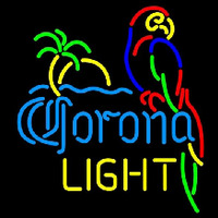 Corona Light Parrot with Palm Beer Sign Neon Skilt
