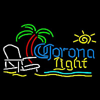 Corona Light Sun Beach Chair Fishing Beer Sign Neon Skilt