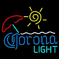 Corona Light Umbrella with Sun Beer Sign Neon Skilt