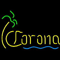 Corona Single Palm Tree With Wave Beer Sign Neon Skilt