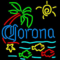 Corona Tropical Fish w Palm Tree Beer Sign Neon Skilt
