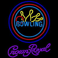Crown Royal Bowling Yellow Blue Beer Sign Neon Skilt