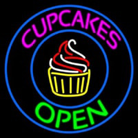 Cupcakes Open With Circle Neon Skilt