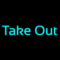Cursive Take Out Neon Skilt