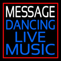 Custom Block Blue Live Music Dancing Red Border Neon Skilt
