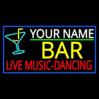 Custom Red Live Music Dancing Yellow Bar And Blue Border Neon Skilt