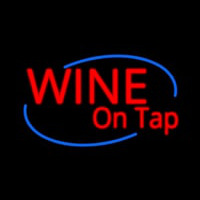Custom Wine On Tap Oval Neon Skilt