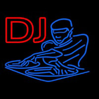 DJ Disc Jockey Disco Music Neon Skilt