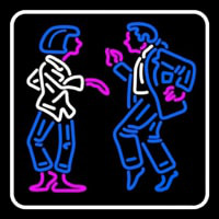 Dancing Couple With White Border Neon Skilt