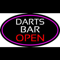 Dart Bar Open Oval With Pink Border Neon Skilt