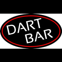 Dart Bar With Oval With Red Border Neon Skilt