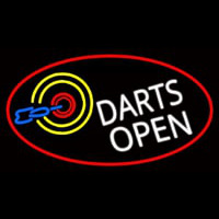 Dart Board Open Oval With Red Border Neon Skilt
