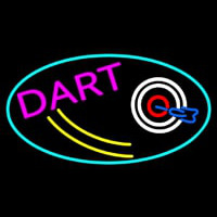 Dart Board Oval With Turquoise Border Neon Skilt