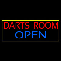 Darts Room Open With Yellow Border Neon Skilt