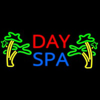 Day Spa With Palm Trees Neon Skilt
