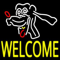 Dog Welcome Neon Skilt