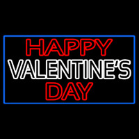 Double Stroke Happy Valentines Day With Blue Border Neon Skilt