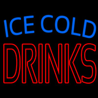 Double Stroke Ice Cold Drinks Neon Skilt