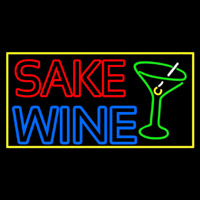 Double Stroke Sake Wine With Glass 1 Neon Skilt